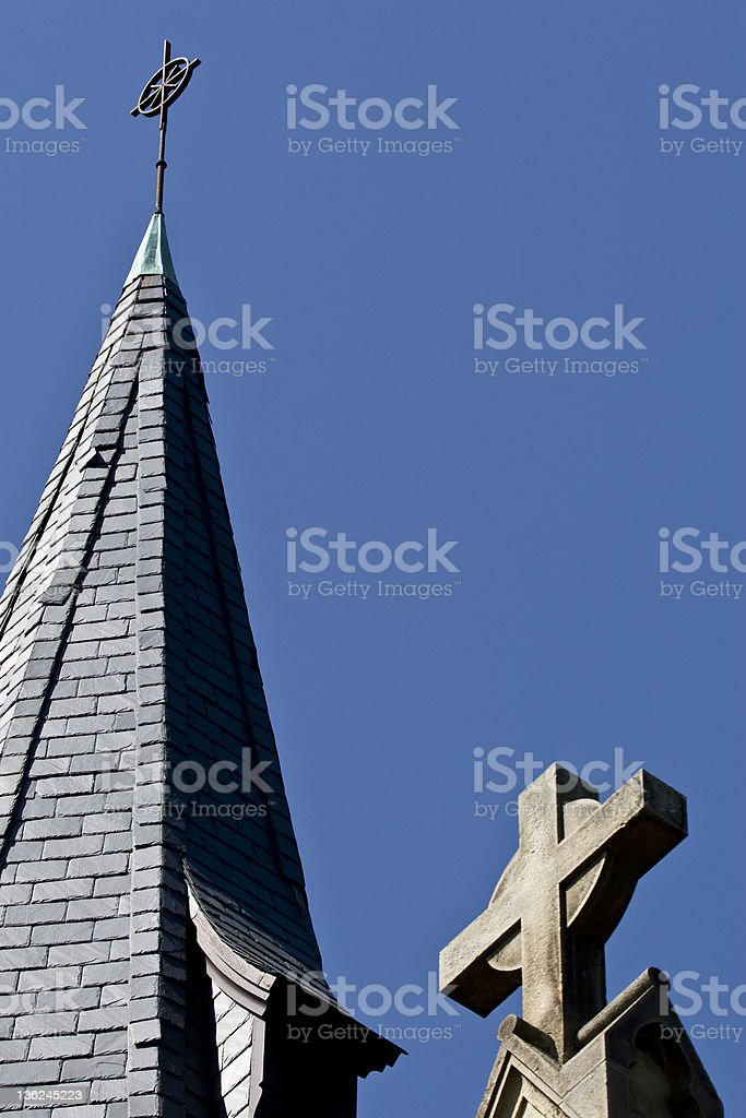 Steeple and Two Crosses stock photo
