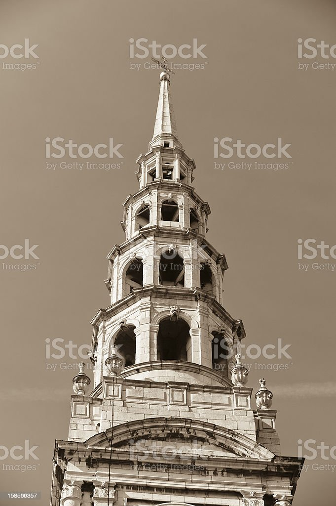 Steeple of St Bride's Church London royalty-free stock photo