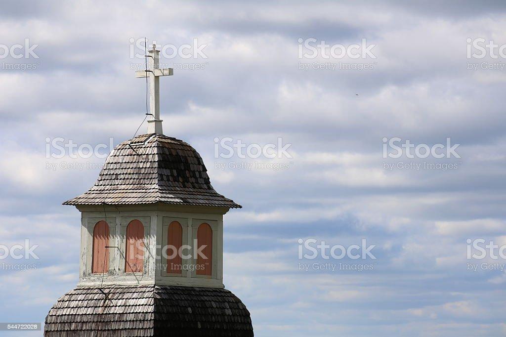 Steeple of the church in Borgvattnet, Sweden stock photo