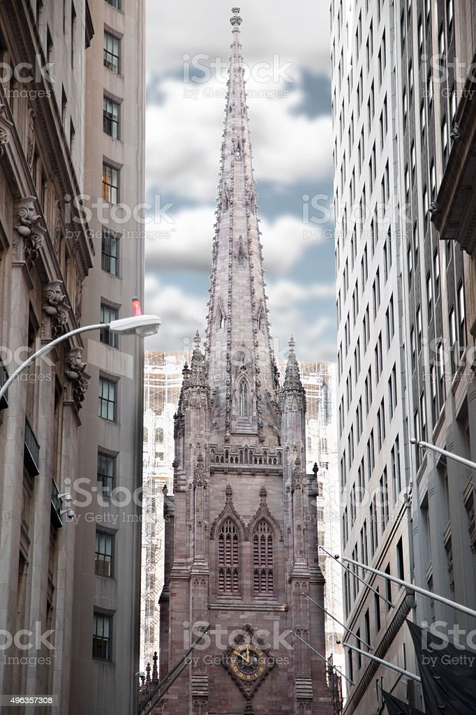 Steeple of Trinity Church in New York City, USA. stock photo