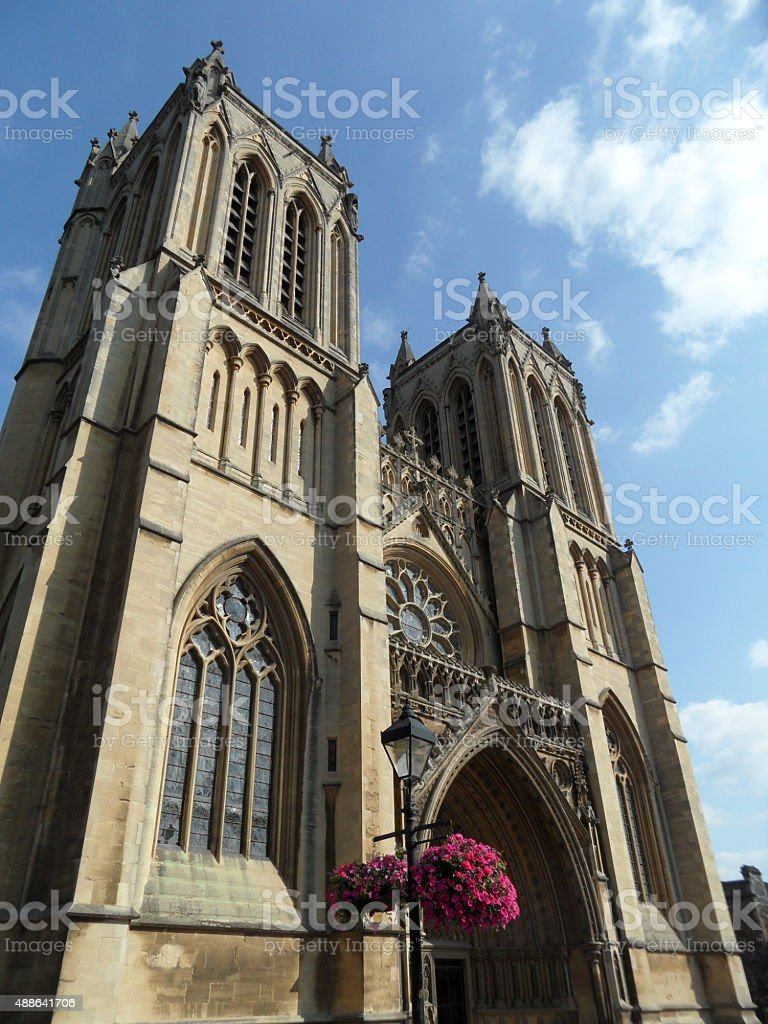 steeple towers of cathedral in Truro stock photo
