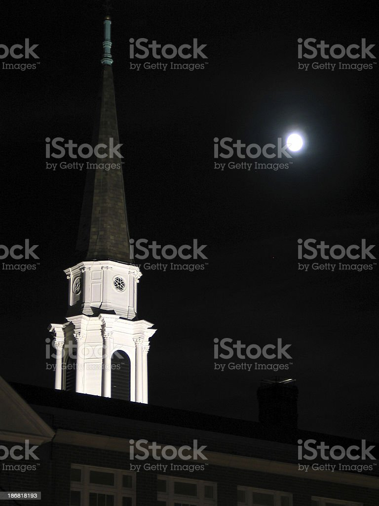 Steeple with Moon royalty-free stock photo