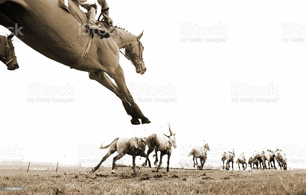 Steeplechase Jump and Horse Racing royalty-free stock photo