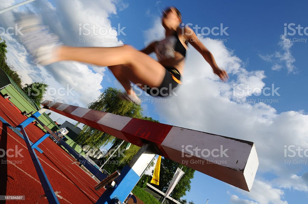 Steeplechase race stock photo