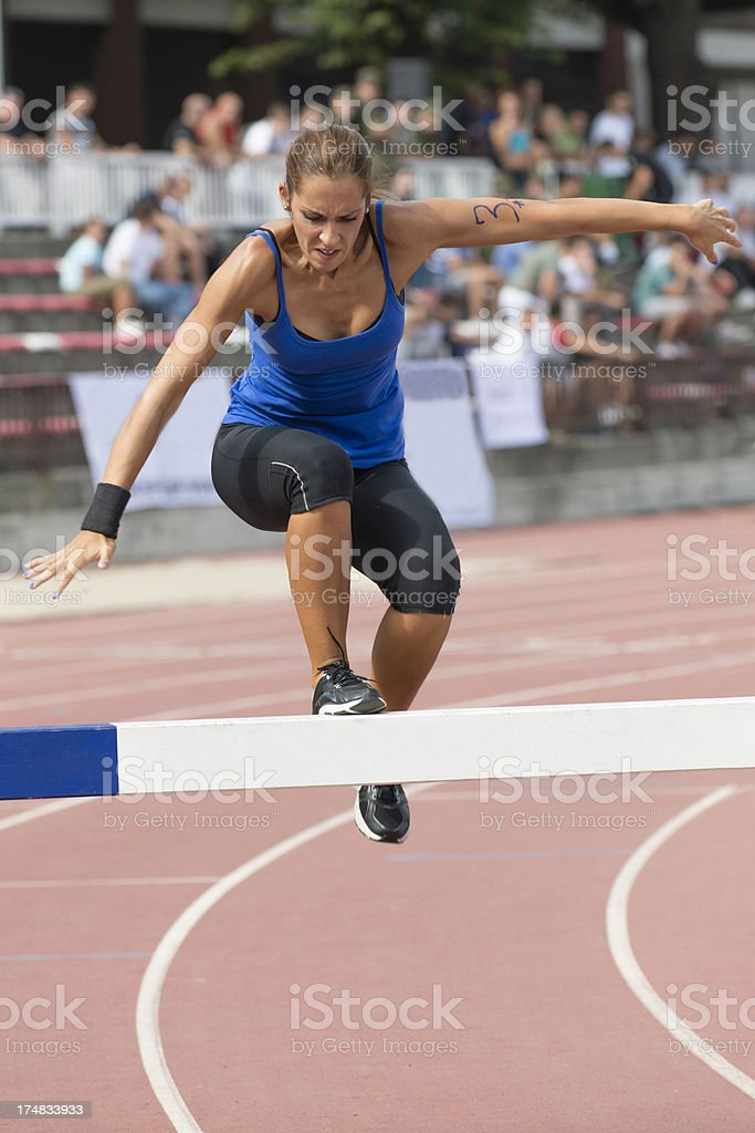 Steeplechase runner royalty-free stock photo