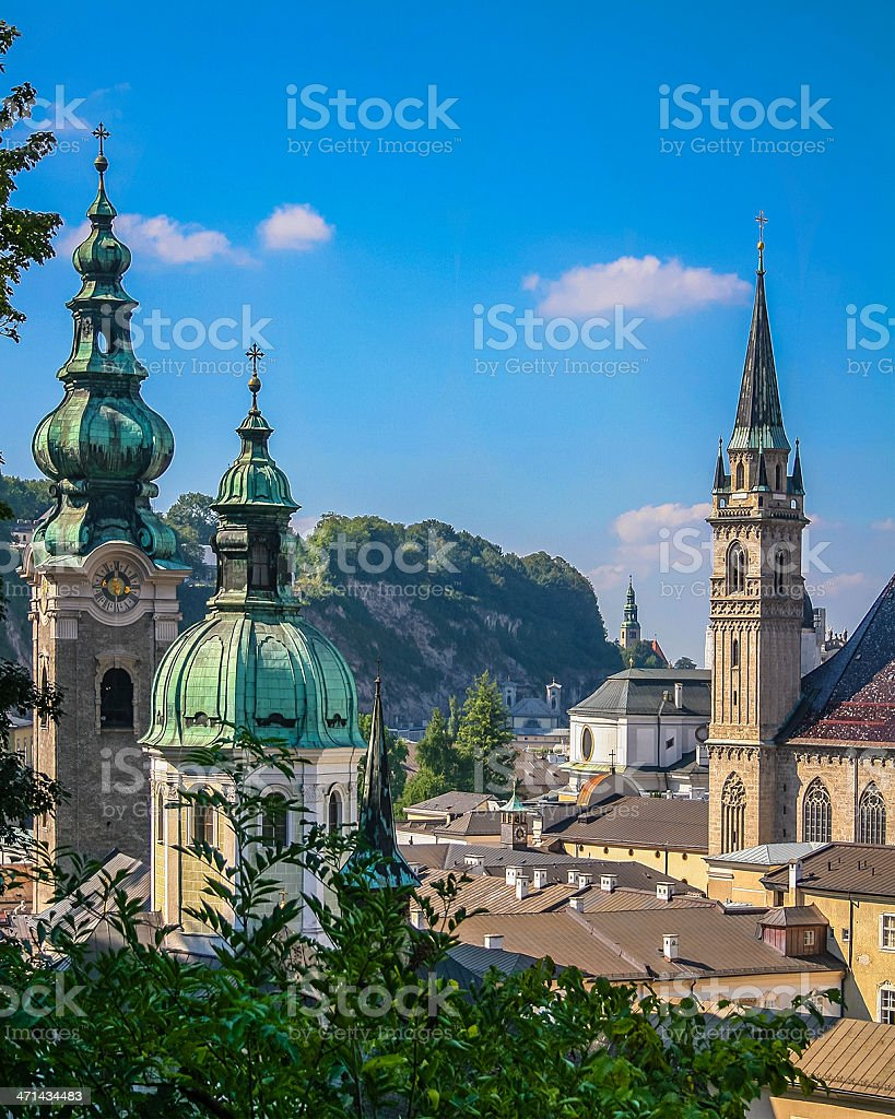 Steeples and domes of Salzurg stock photo