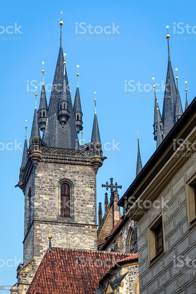 Steeples and spires of church of Mother of God stock photo