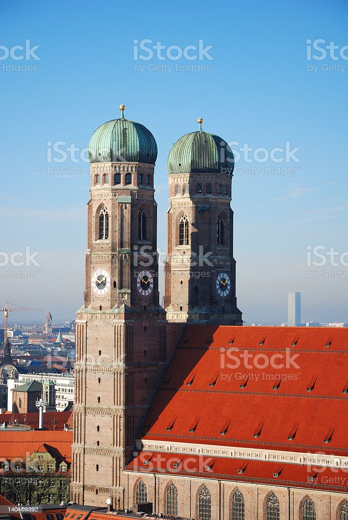 steeples Frauenkirche Munich royalty-free stock photo