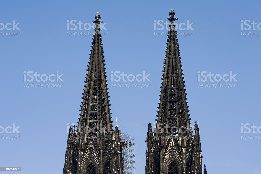 Steeples of the Cologne Cathedral stock photo