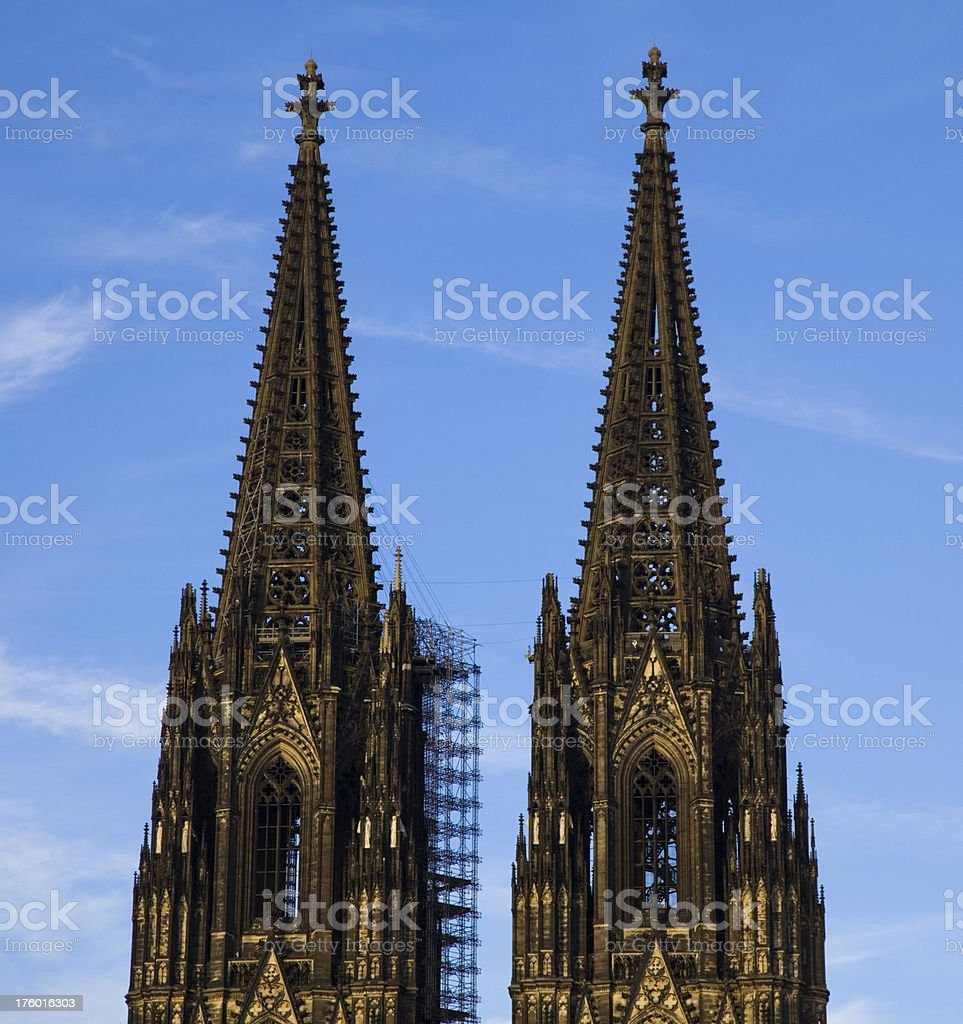 Steeples of the Cologne Cathedral royalty-free stock photo