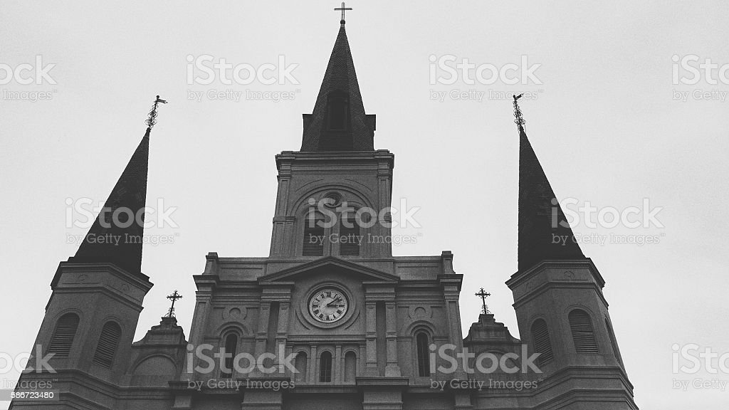 Steeples Spires Silhouette, St. Louis Cathedral, New Orleans, Louisiana stock photo