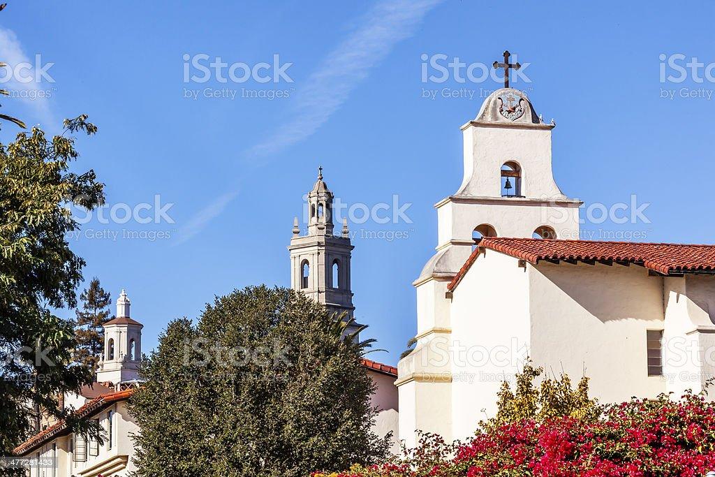 Steeples White Adobe Mission Santa Barbara Cross Bell California stock photo