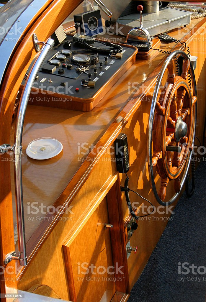Steering cabin stock photo