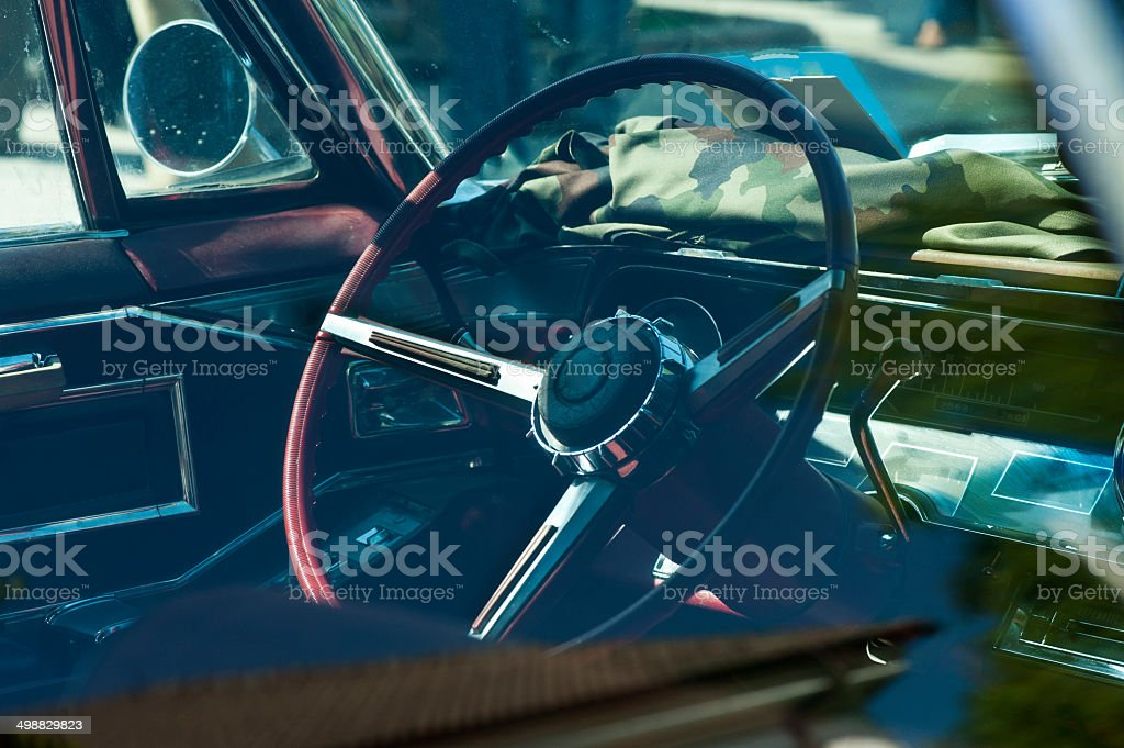 Steering Wheel and Dashboard Interior of Vintage Car royalty-free stock photo