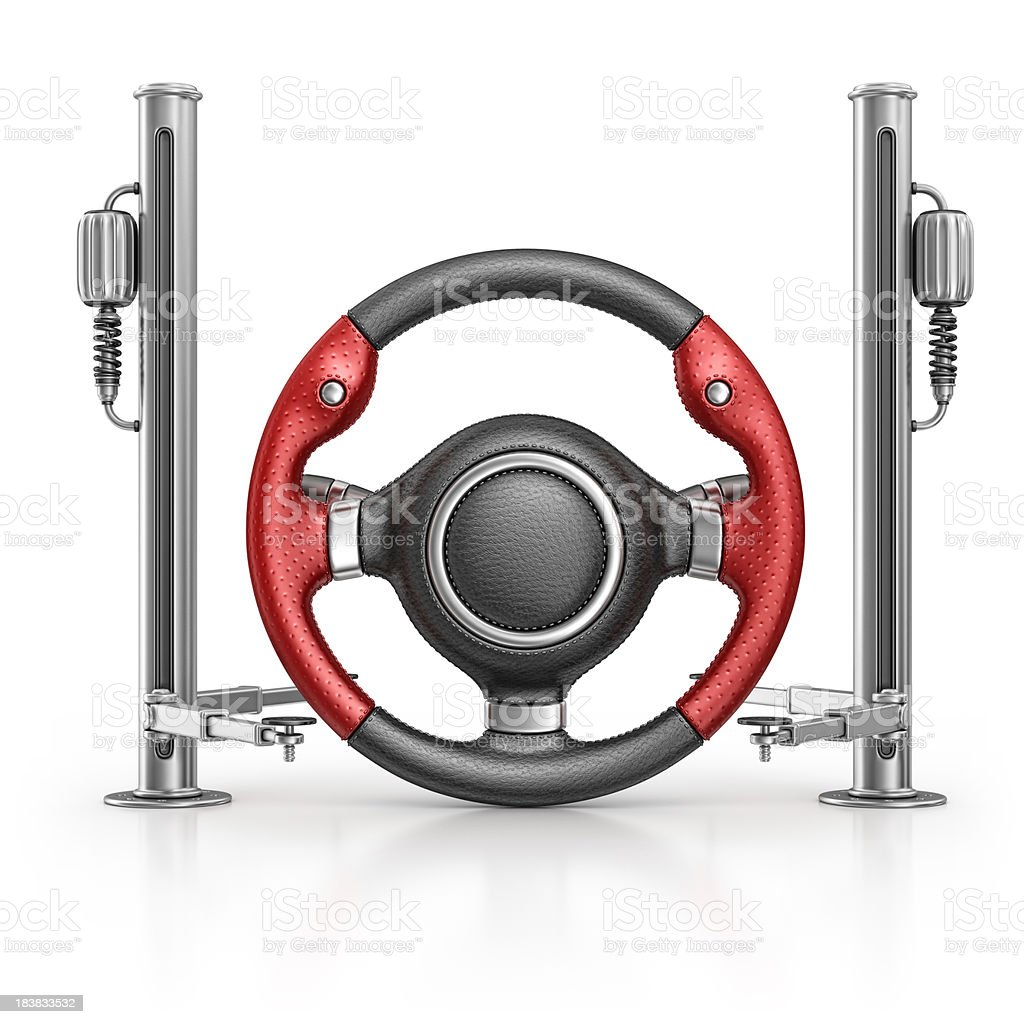 steering wheel and hydraulic platform royalty-free stock photo