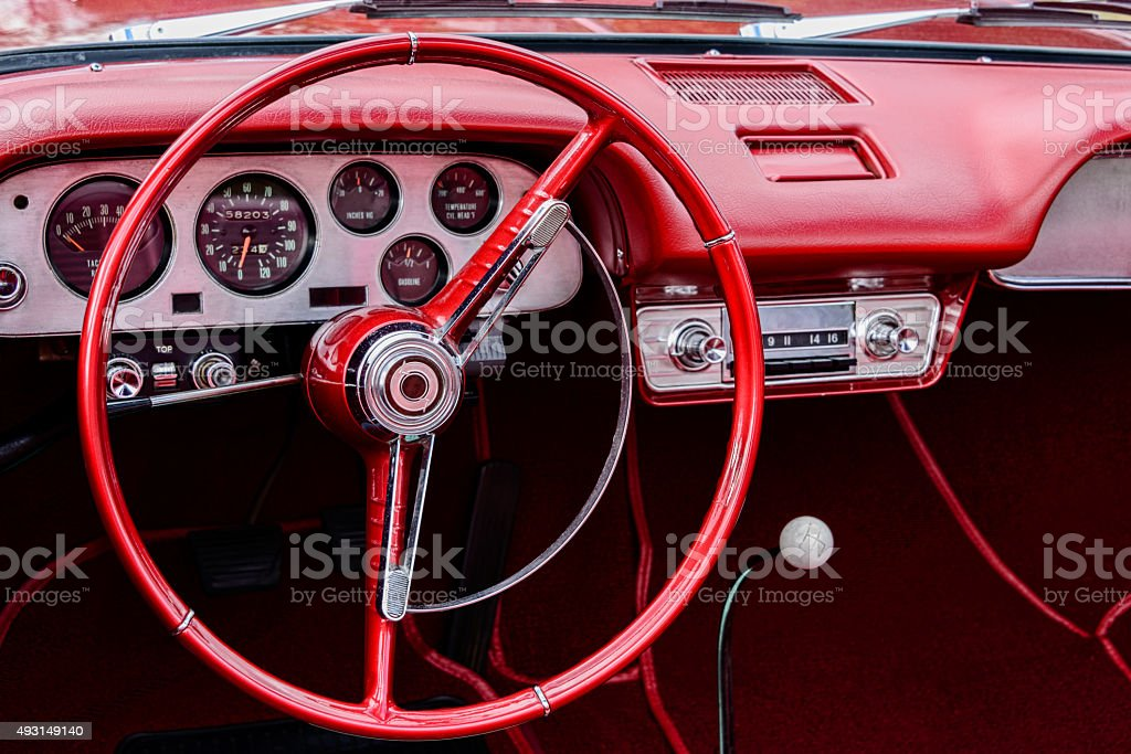 XXXL: Steering wheel and interior of a classic car. stock photo