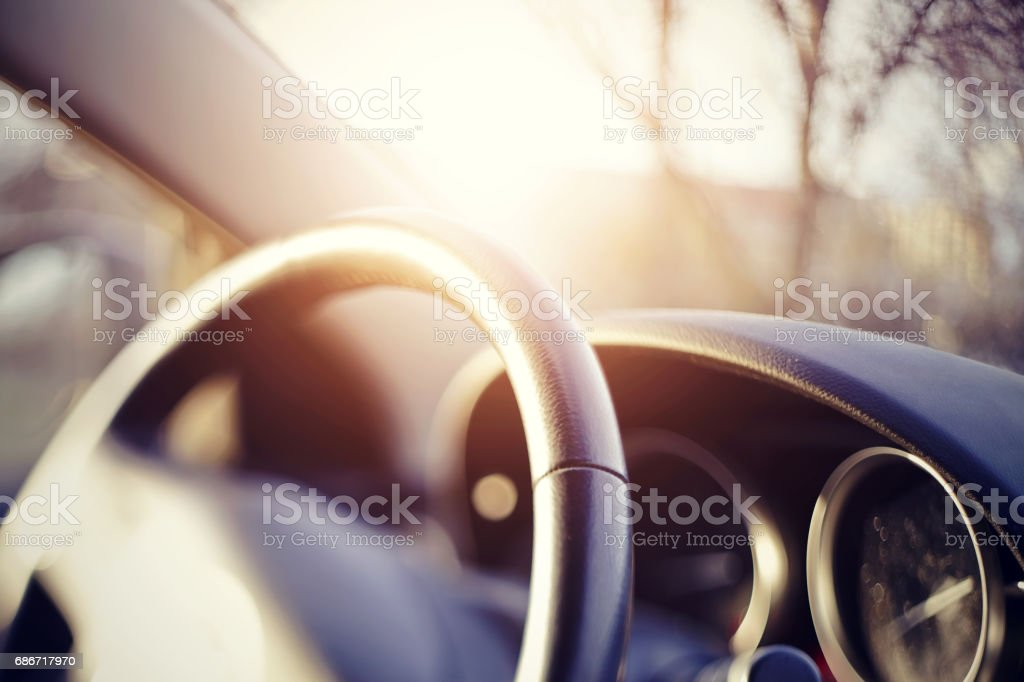 Steering wheel and the instrument panel on the dashboard of the car. stock photo