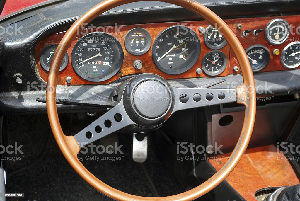 steering wheel interior of old vintage car royalty-free stock photo