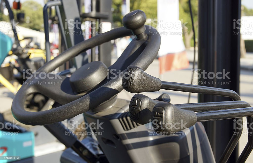 steering wheel of a forklift stock photo