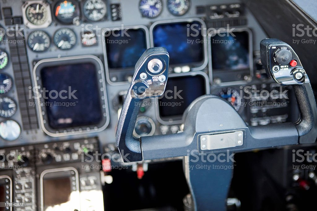 Steering wheel of airplane inside cockpit royalty-free stock photo