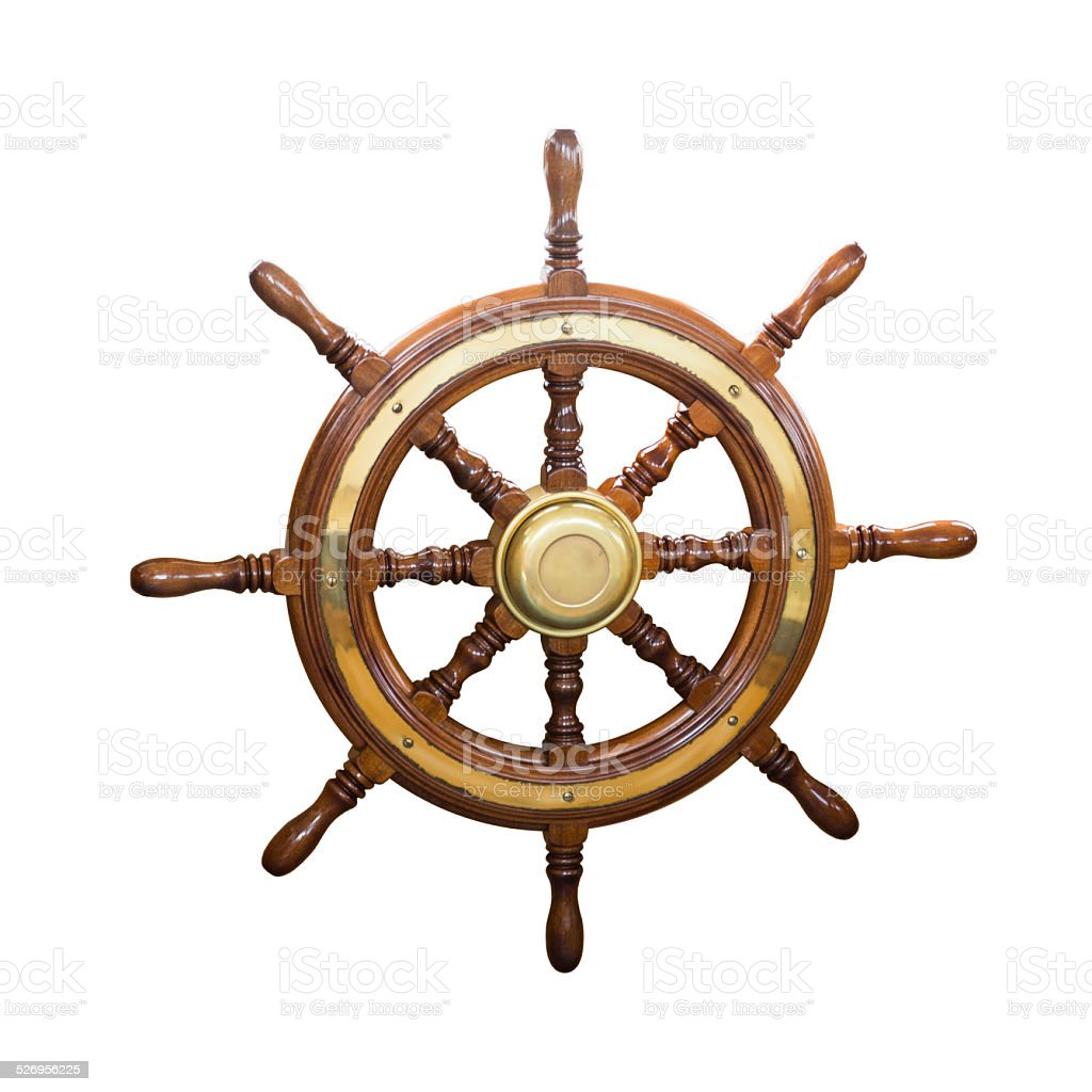 Steering wheel of  boat stock photo