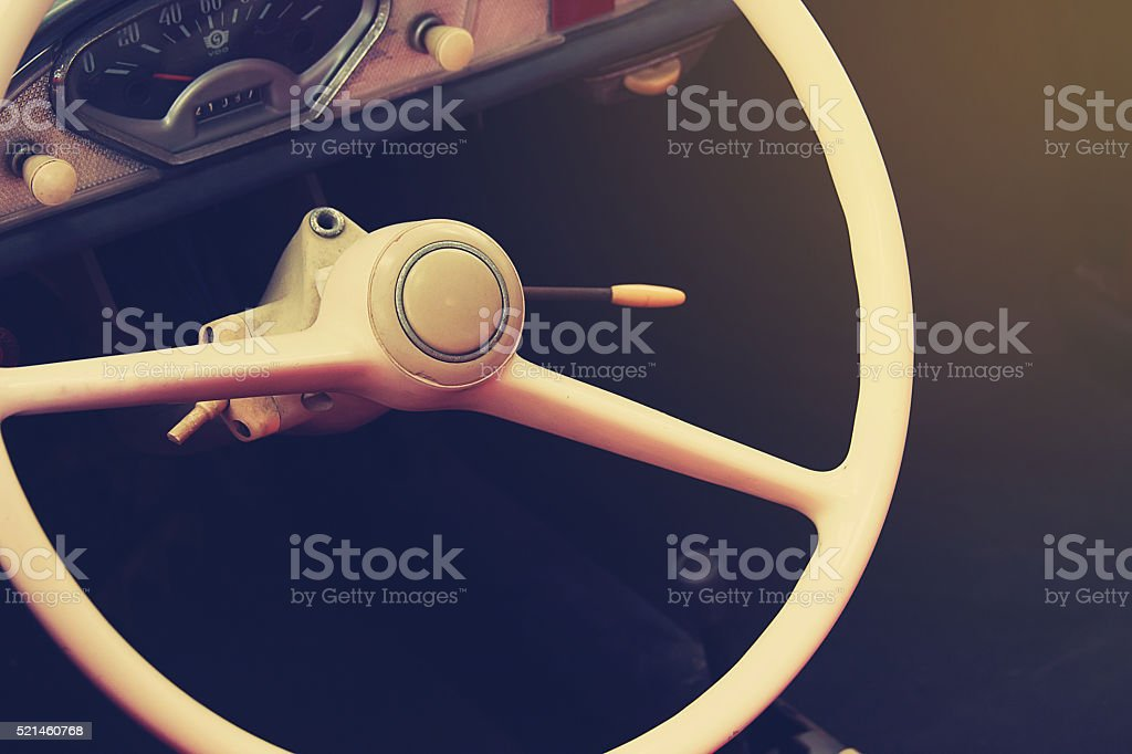 Steering wheel of classic car. stock photo