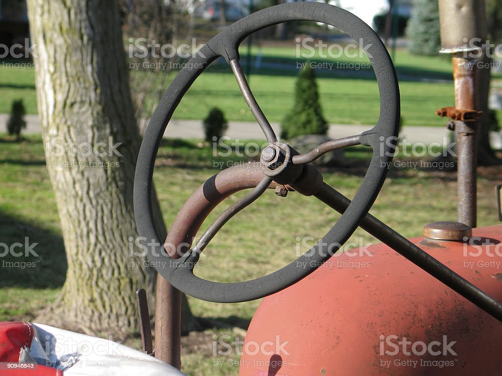 Steering wheel of old Tractor royalty-free stock photo