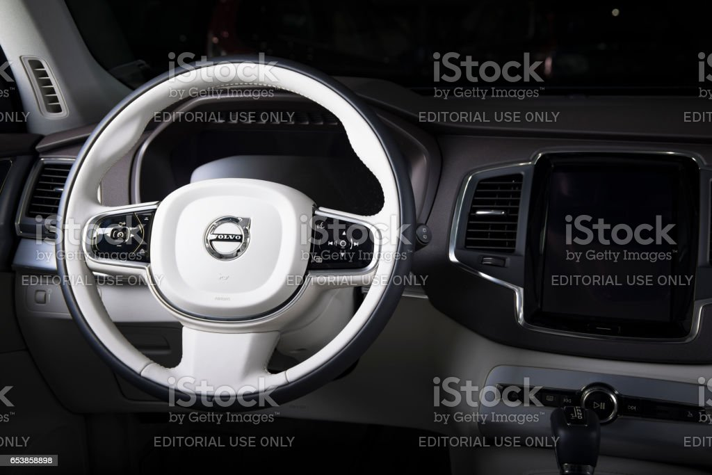 Steering wheel of the modern car Volvo XC90 stock photo