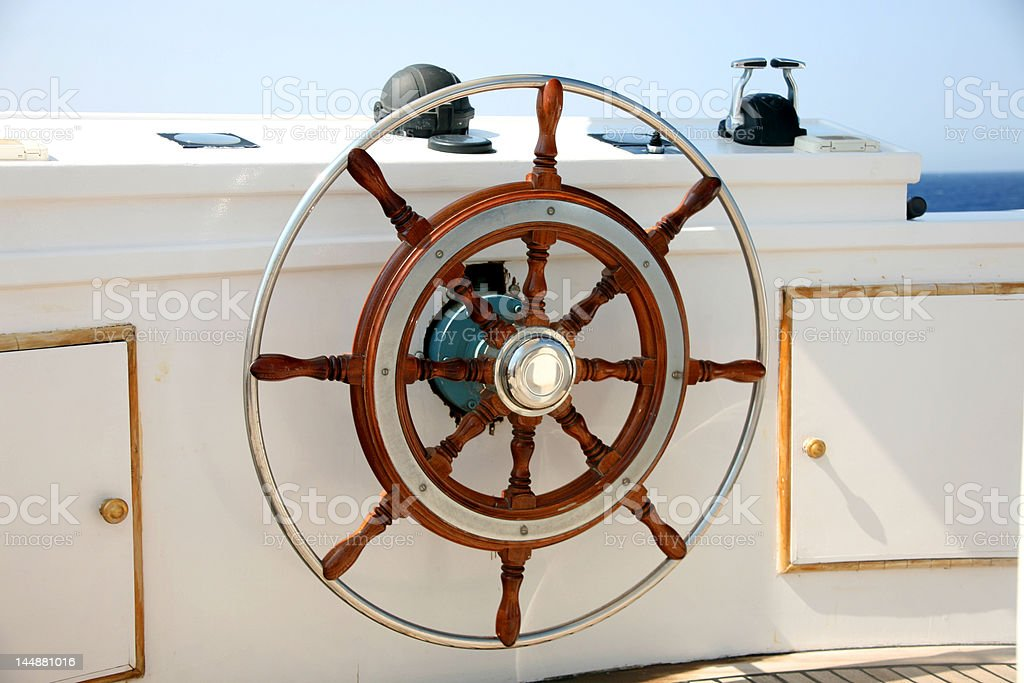 Steering wheel on a boat royalty-free stock photo
