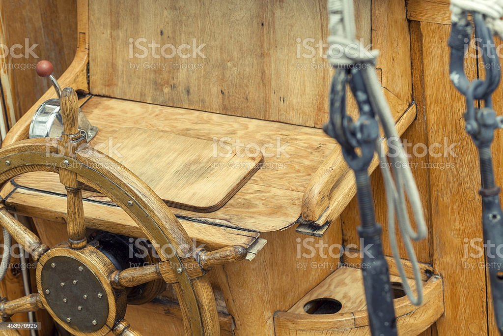 steering wheel on sailboat royalty-free stock photo
