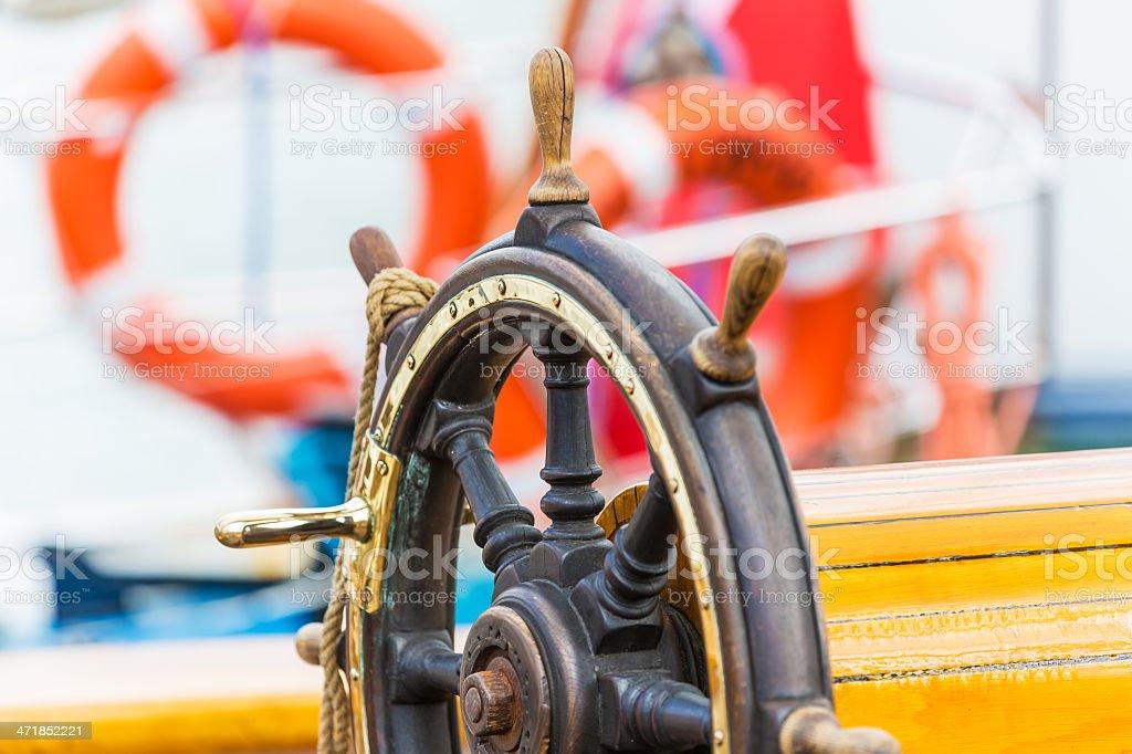 Steering wheel on sailing ship royalty-free stock photo