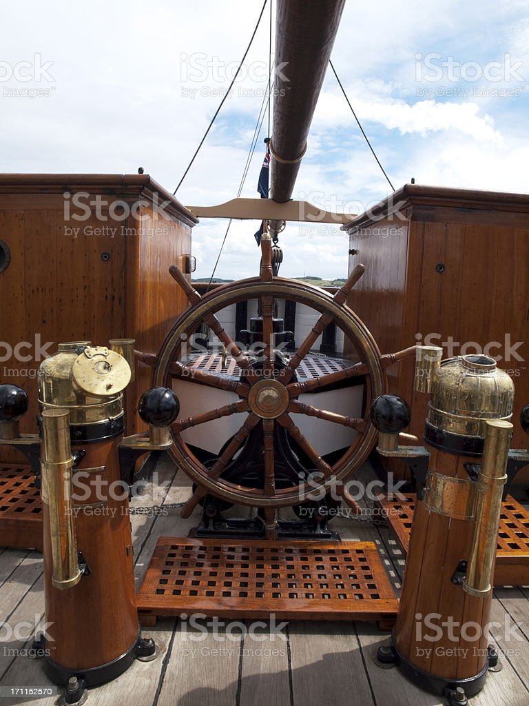 Steering Wheel on the RRS Discovery stock photo