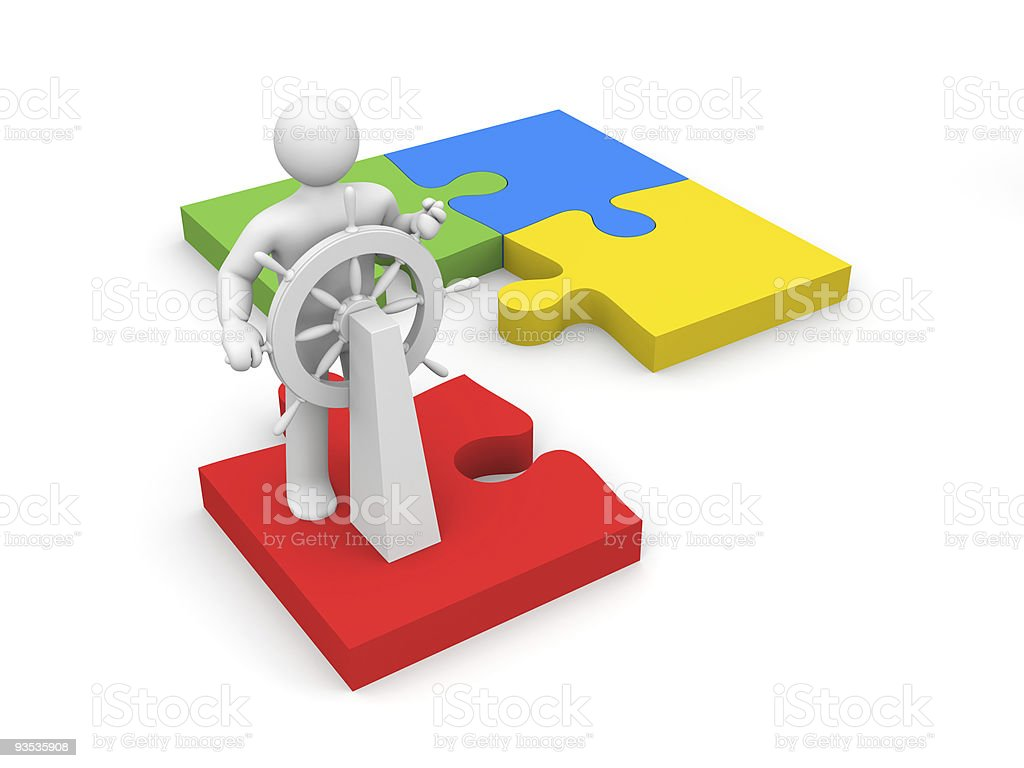 Steersman on puzzle vector art illustration