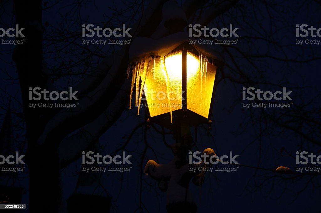 Steetlight in winter stock photo