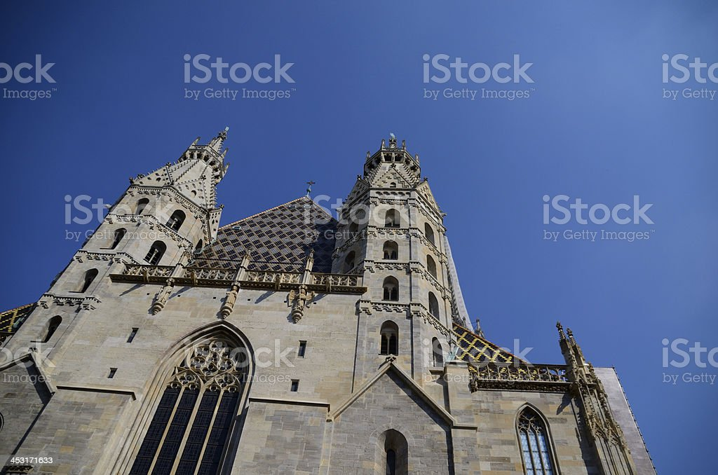 stefansdom and blue sky stock photo