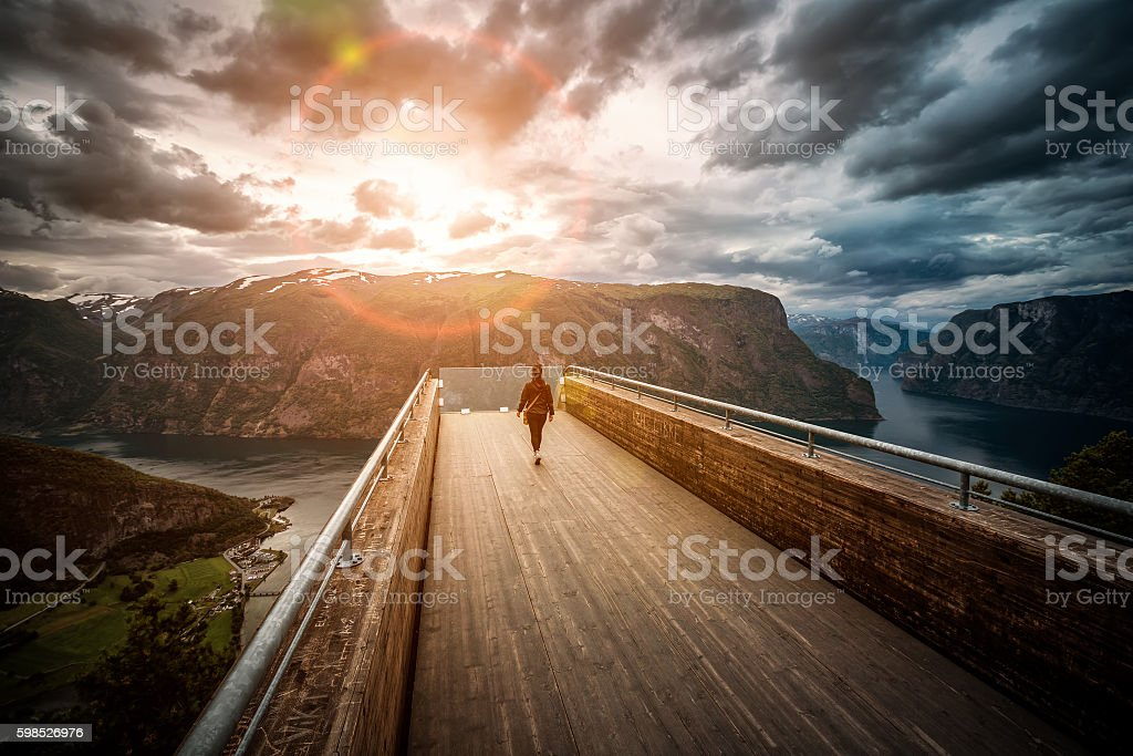Stegastein Lookout Beautiful Nature Norway observation deck view stock photo