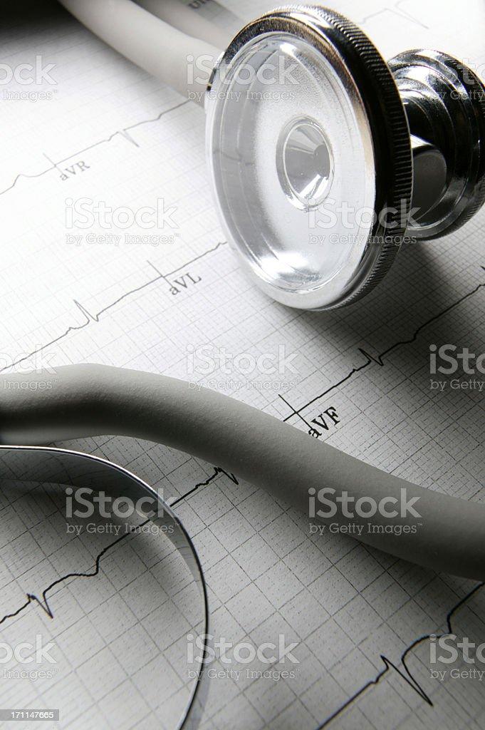 Stehoscope & ECG royalty-free stock photo