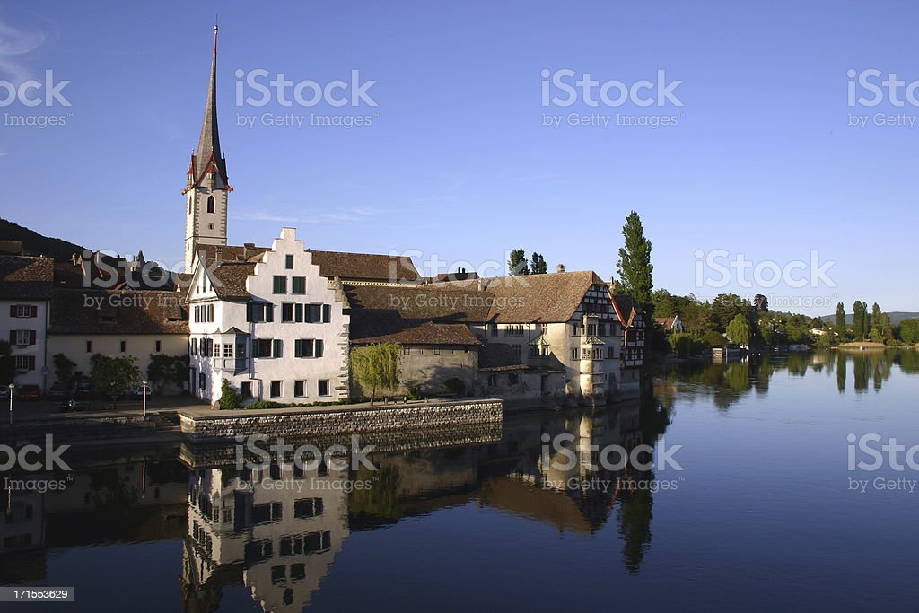 Stein am Rhein reflecting in the river royalty-free stock photo