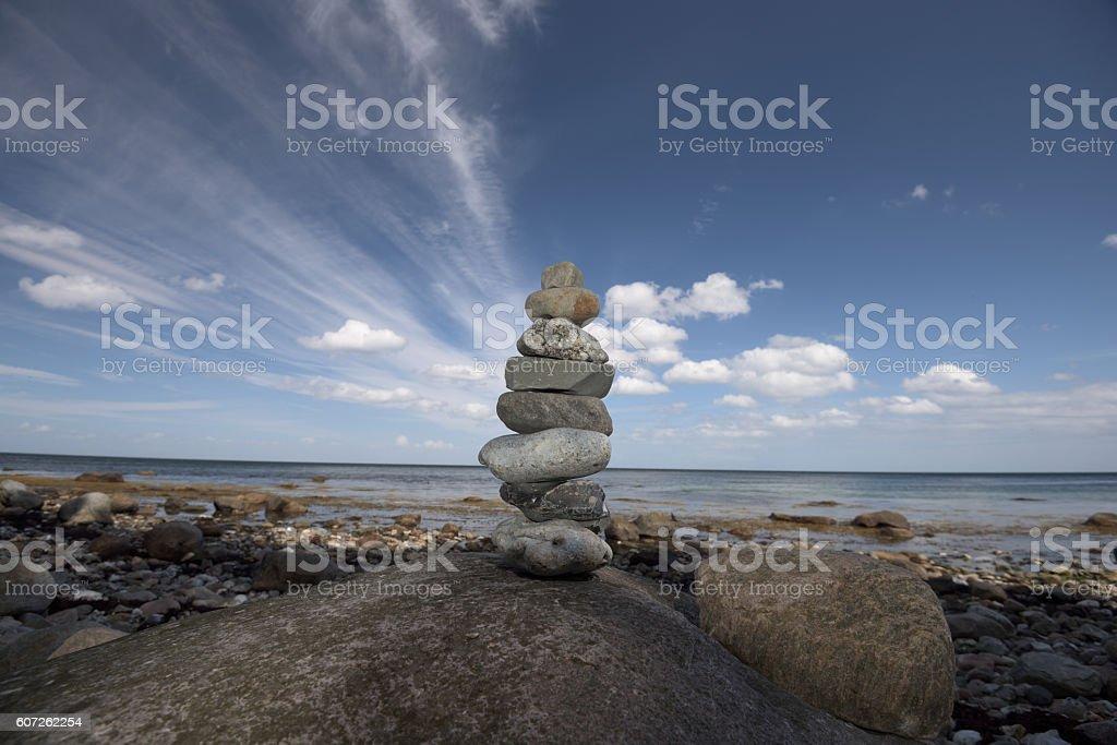 Steinpyramide am Meer Fehmarn stock photo