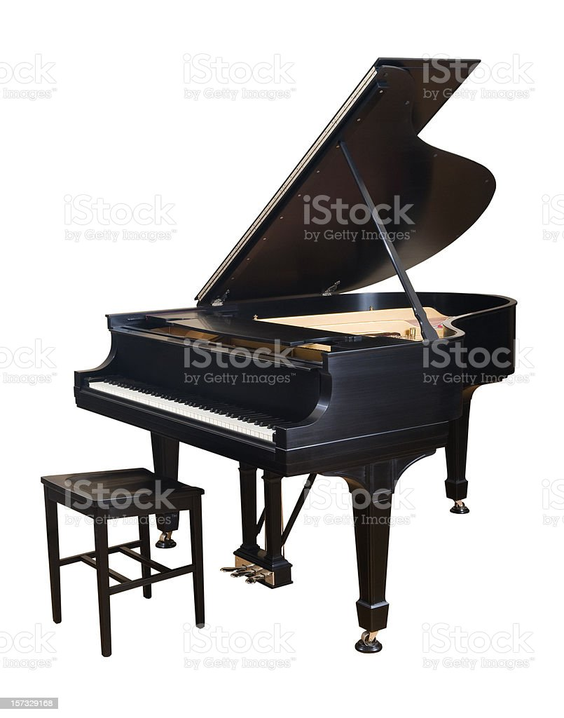 Steinway Parlor Grand Piano on White stock photo