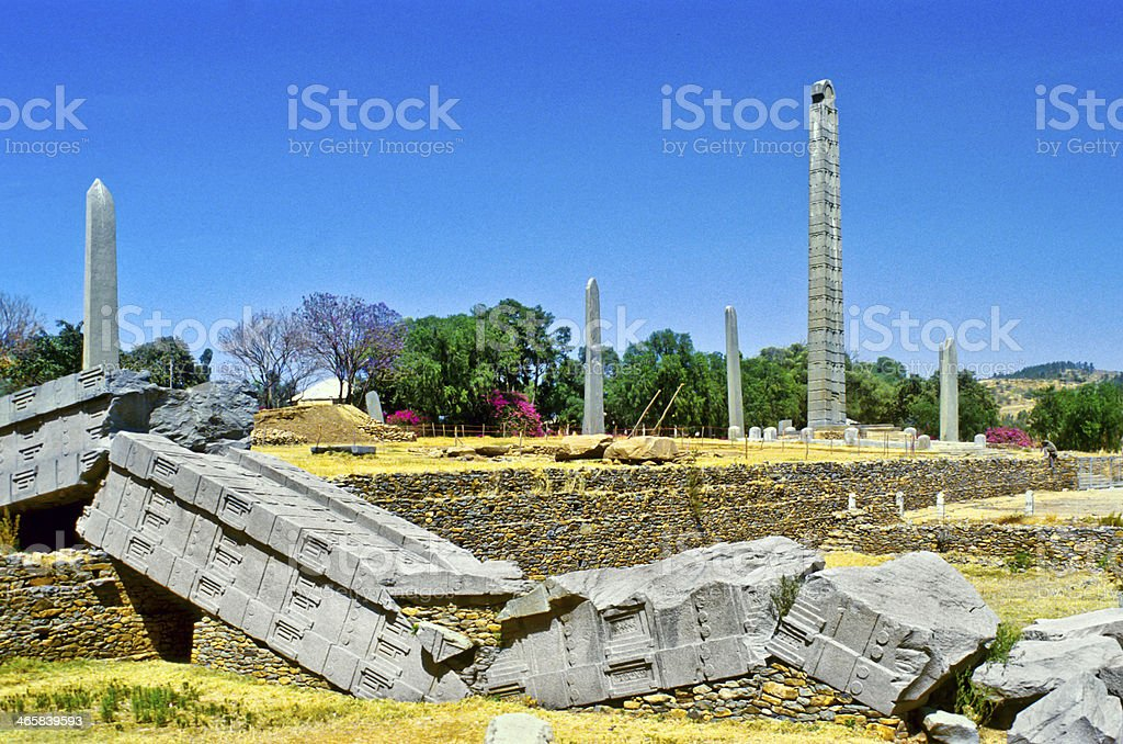 Stele in the northern field at Axum stock photo