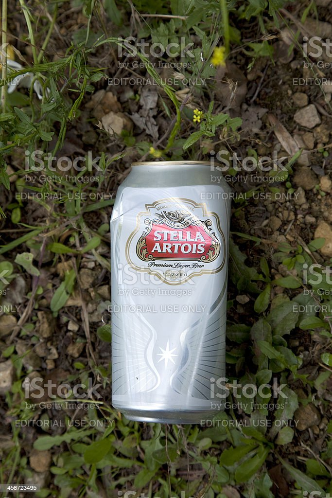 Stella Artois discarded can stock photo