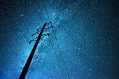 Stellar sky over the transmission line