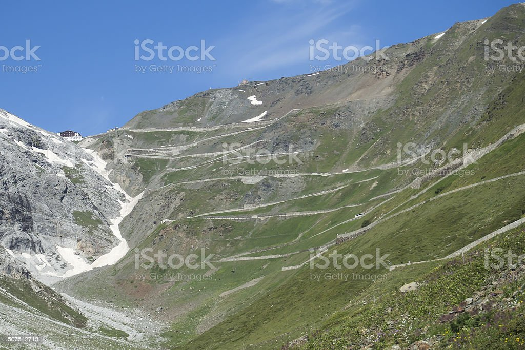 Stelvio pass road stock photo