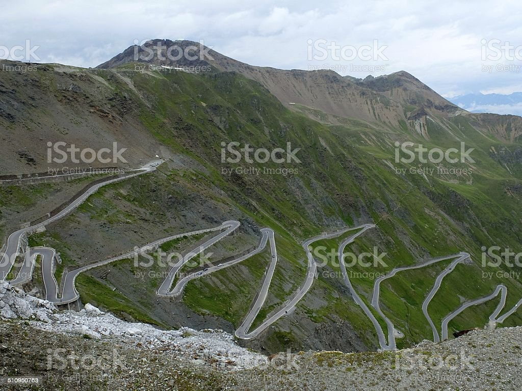 Stelvio Pass Road stock photo