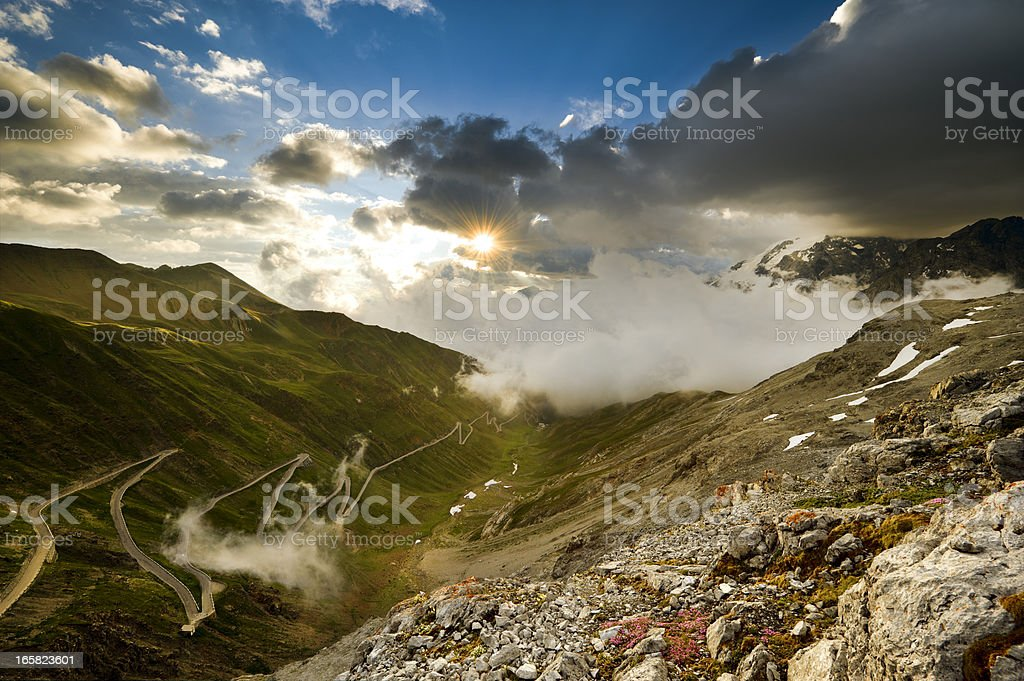 Stelvio Pass, the never-ending road stock photo