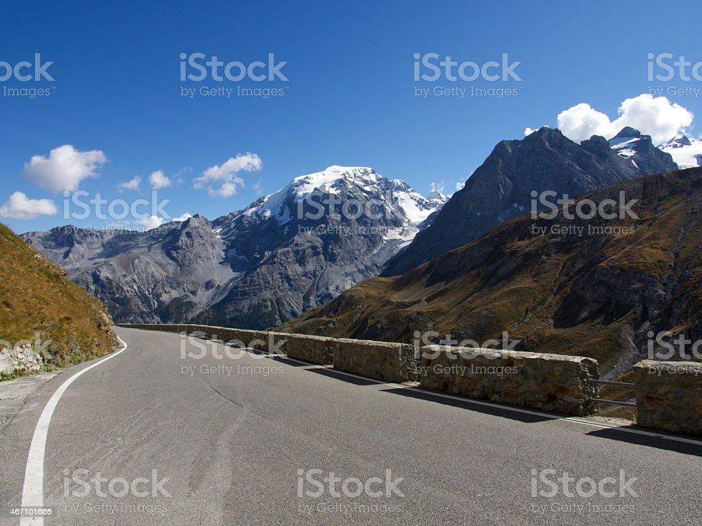 Stelvio pass with Ortler mountain stock photo