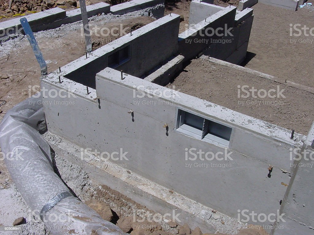 Stemwall and footing with vent stock photo