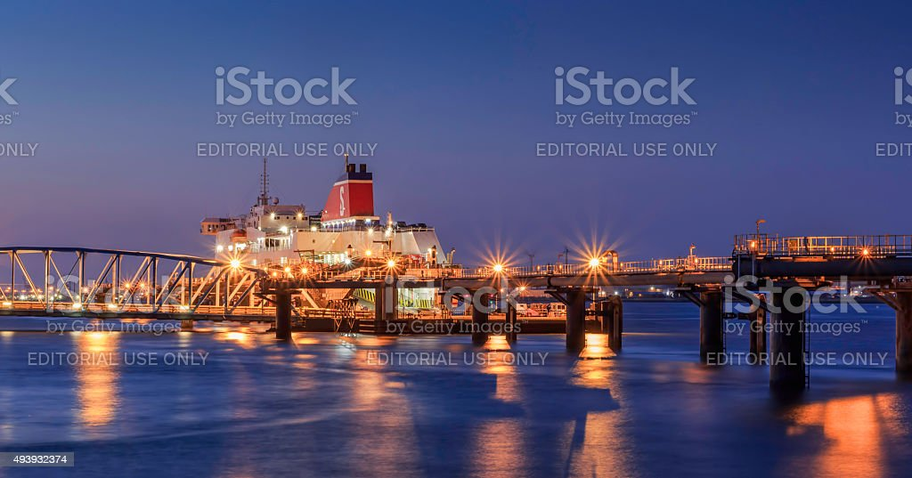 Stena line ferry docked on the river mersey at dusk. stock photo