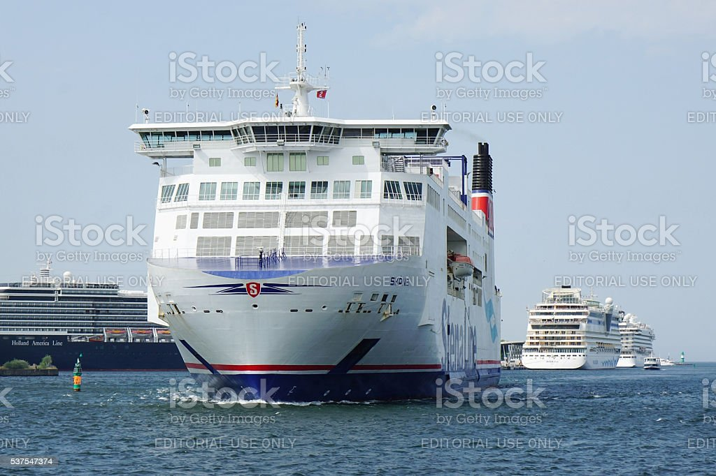 Stena Line ferry ship in Rostock Germany stock photo